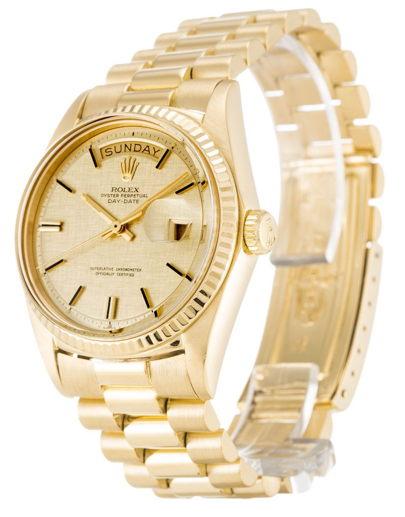 The Rolex Day Date Dial Stick Markers Fluted Bezel 18k Gold Replica